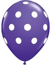 """Purple Violet Big Polka Dots 11"""" Latex Balloons 6pk"""