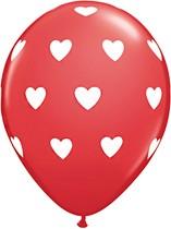 "Red & White Big Hearts 11"" Latex Balloons 6pk"