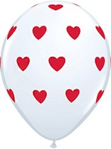"White & Red Big Hearts 11"" Latex Balloons 6pk"