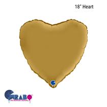 "Grabo Satin Gold 18"" Heart Foil Balloon"
