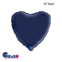 "Grabo Satin Navy Blue 18"" Heart Foil Balloon"