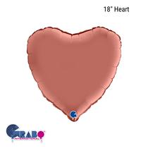 """Grabo Satin Rose Gold 18"""" Heart Foil Balloon"""