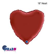 "Grabo Satin Ruby Red 18"" Heart Foil Balloon"