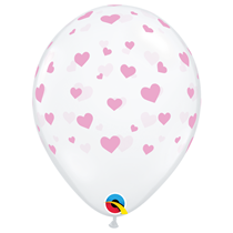 "Diamond Clear 11"" Random Hearts-A-Round Latex Balloons 25pk"