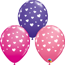"""Valentine 11"""" Random Hearts-A-Round Latex Balloons 25pk"""