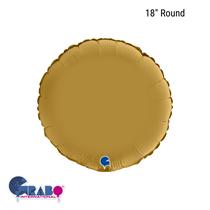 """Grabo Satin Gold 18"""" Round Foil Balloon"""