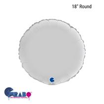 """Grabo Satin White 18"""" Round Foil Balloon"""