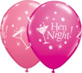 "Assorted Hen Night Bubbly 11"" Latex Balloons 25pk"