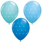 """11"""" Assorted Blue Tiny Polka Dot Latex Balloons - 25pk"""