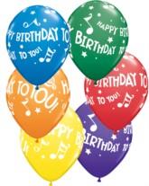 "Happy Birthday 11"" Latex Carnival Asst. Balloons 25pk"