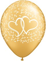 """Gold Entwined Hearts 11"""" Latex Balloons 25pk"""