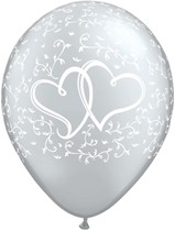 """Silver Entwined Hearts 11"""" Latex Balloons 25pk"""