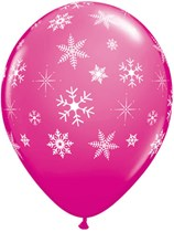 """Pink With White Snowflakes 11"""" Latex Balloons - 25pk"""