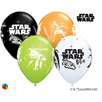 """Star Was Darth Vader & Yoda 11"""" Assorted Latex Balloons 25pk"""