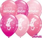 "Minnie Mouse Happy Birthday 11"" Latex Balloons 25pk"
