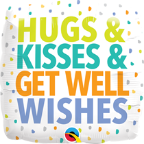 """Hugs Kisses Get Well Wishes 18"""" Foil Balloon"""