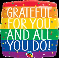 "Grateful For You 18"" Rainbow Foil Balloon"