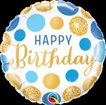 "Blue & Gold Dots Birthday 18"" Foil Balloon"