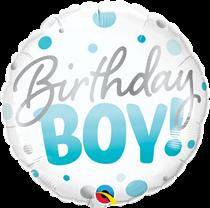 "Birthday Boy 18"" Blue Dots Foil Balloon"