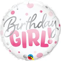 "Birthday Girl 18"" Pink Dots Foil Balloon"