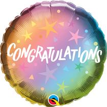 """Congratulations Rainbow Ombre 18"""" Foil Balloon"""