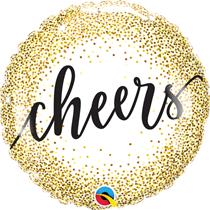 "Cheers Gold Glitter Dots 18"" Foil Balloon"