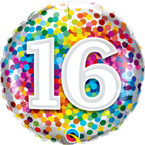 "16th Birthday Rainbow Confetti 18"" Foil Balloon"