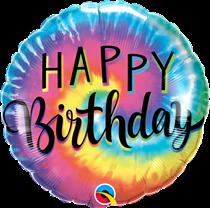 "Happy Birthday Tie Dye Swirls 18"" Foil Balloon"