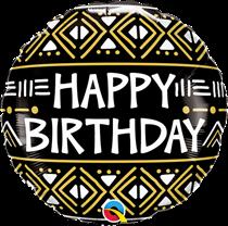 "Happy Birthday Mud Cloth Print 18"" Foil Balloon"
