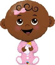 "Baby Girl Dark Skin Tone 38"" Foil Balloon"