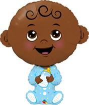 "Baby Boy Dark Skin Tone 38"" Foil Balloon"
