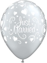 """Just Married Hearts 11"""" Silver Latex Balloons 6pk"""