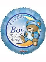 "18"" Baby Boy Teddy Bear Foil Balloon"