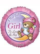 """18"""" Baby Girl Teddy Bear Foil Balloon"""