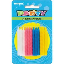 Assorted Coloured Spiral Party Candles 24pk