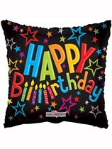 """Square Happy Birthday Candles 18"""" Foil Balloon"""