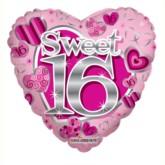 """Sweet Sixteen Love Heart Foil Balloon 18"""""""