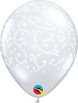 "Diamond Clear 5"" Filigree Latex Balloons 100pk"