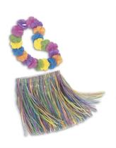 Rainbow Hula Skirt and Lei Set - Child