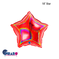 """Grabo Glitter Holographic 18"""" Red Star"""