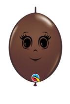 "Chocolate Brown Feminine Face 6"" QuickLink Balloons 50pk"
