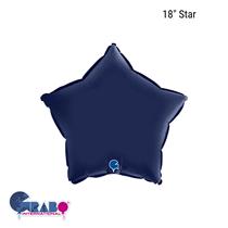 "Grabo Satin Navy Blue 18"" Star Foil Balloon"