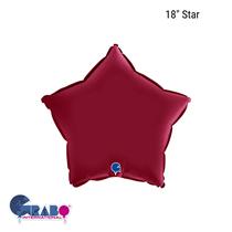 "Grabo Satin Cherry Red 18"" Star Foil Balloon"