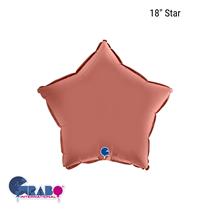 """Grabo Satin Rose Gold 18"""" Star Foil Balloon"""