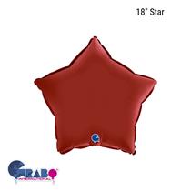 "Grabo Satin Ruby Red 18"" Star Foil Balloon"