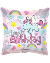 """Happy Birthday Flying Pony 18"""" Foil Balloon"""
