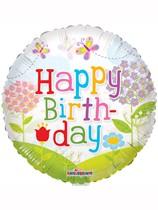 "Butterflies & Flowers Happy Birthday 18"" Foil Balloon"