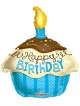 "Happy Birthday Blue Cupcake Shape Foil Balloon 18"""