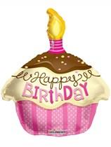 "Happy Birthday Pink Cupcake Shape Foil Balloon 18"""