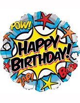 "Happy Birthday Comic Superhero 18"" Foil Balloon"